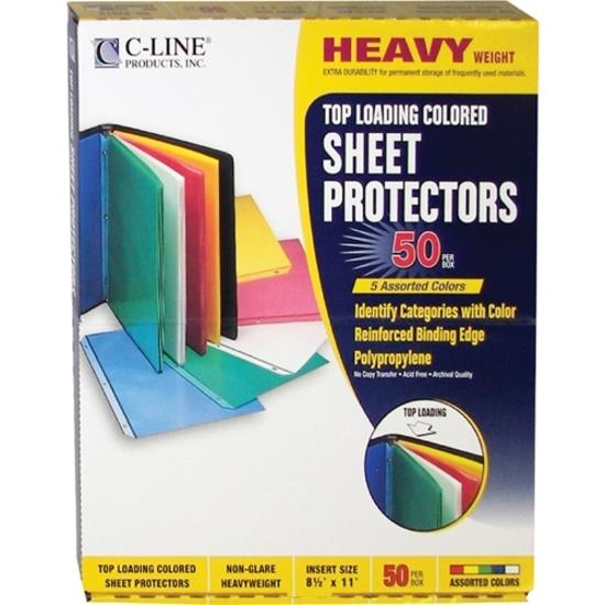 C-Line Colored Polypropylene Sheet Protector, assorted colors, 11 x ...