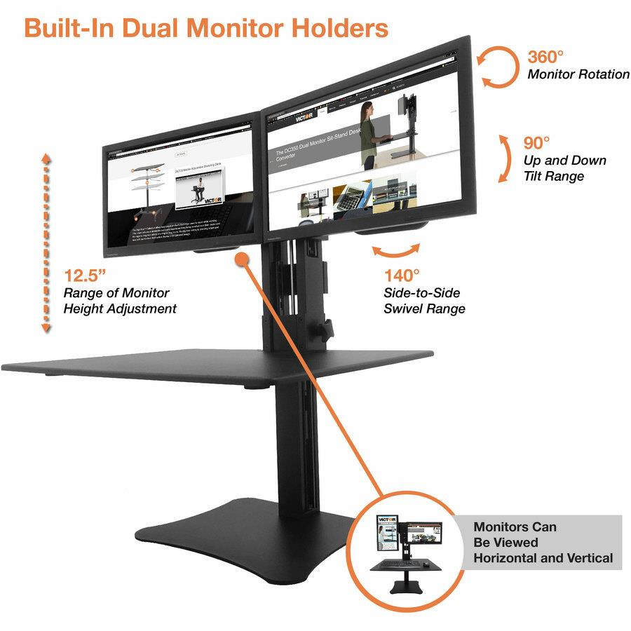 Victor High Rise Manual Dual Monitor Standing Desk Workstation