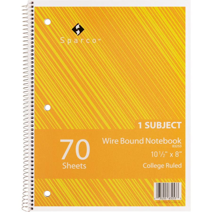 sparco wirebound college ruled notebooks