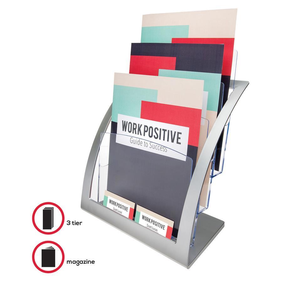 deflecto 3-tier Silver Literature Holder - Zerbee