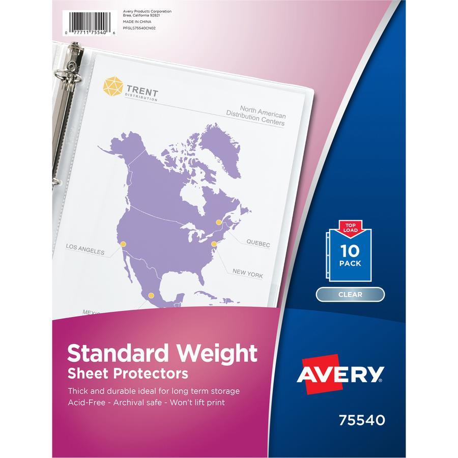 Avery 174 Standard Weight Sheet Protectors Zerbee