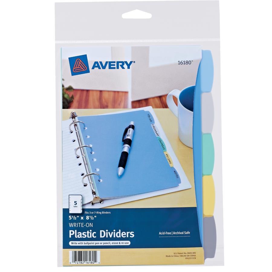 avery 5 1 2 x 8 1 2 mini write erase plastic dividers zerbee