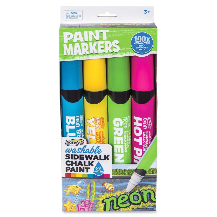RoseArt Washable Sidewalk Chalk Paint Markers Jumbo Marker Point   Blue,  Hot Pink, Lime Green, Neon Yellow   4 / Pack