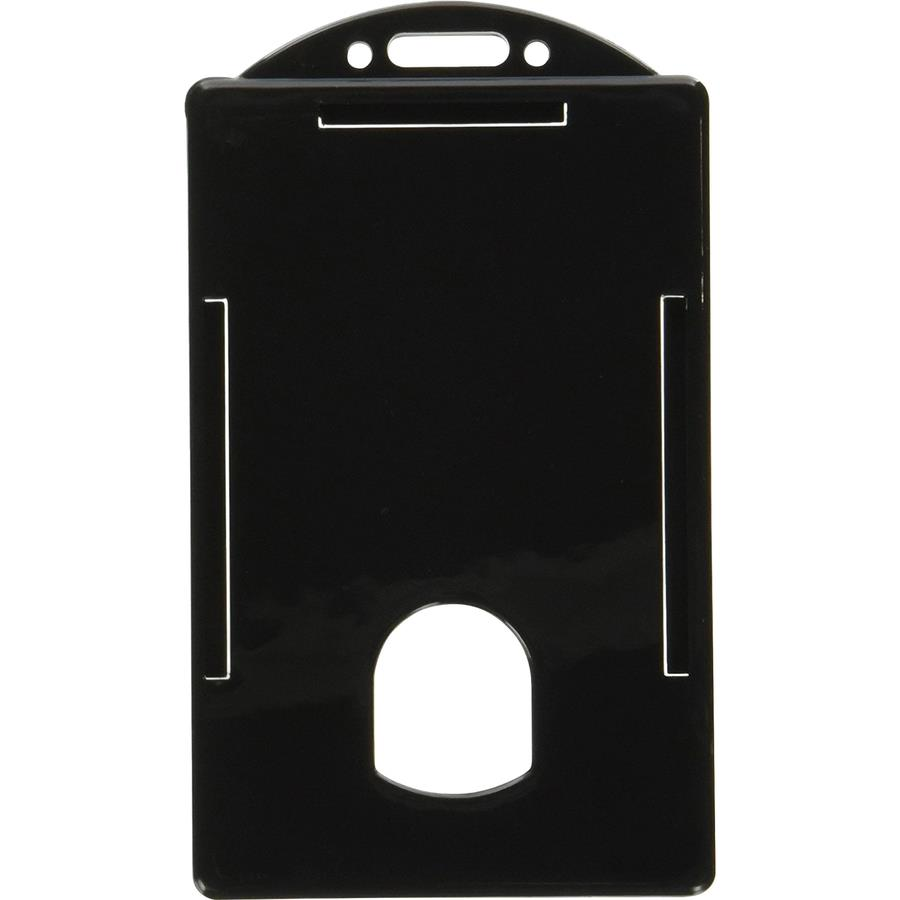 sicurix vertical black frame id card holder 34 x 21 plastic 25 pack black - Plastic Id Card Holder