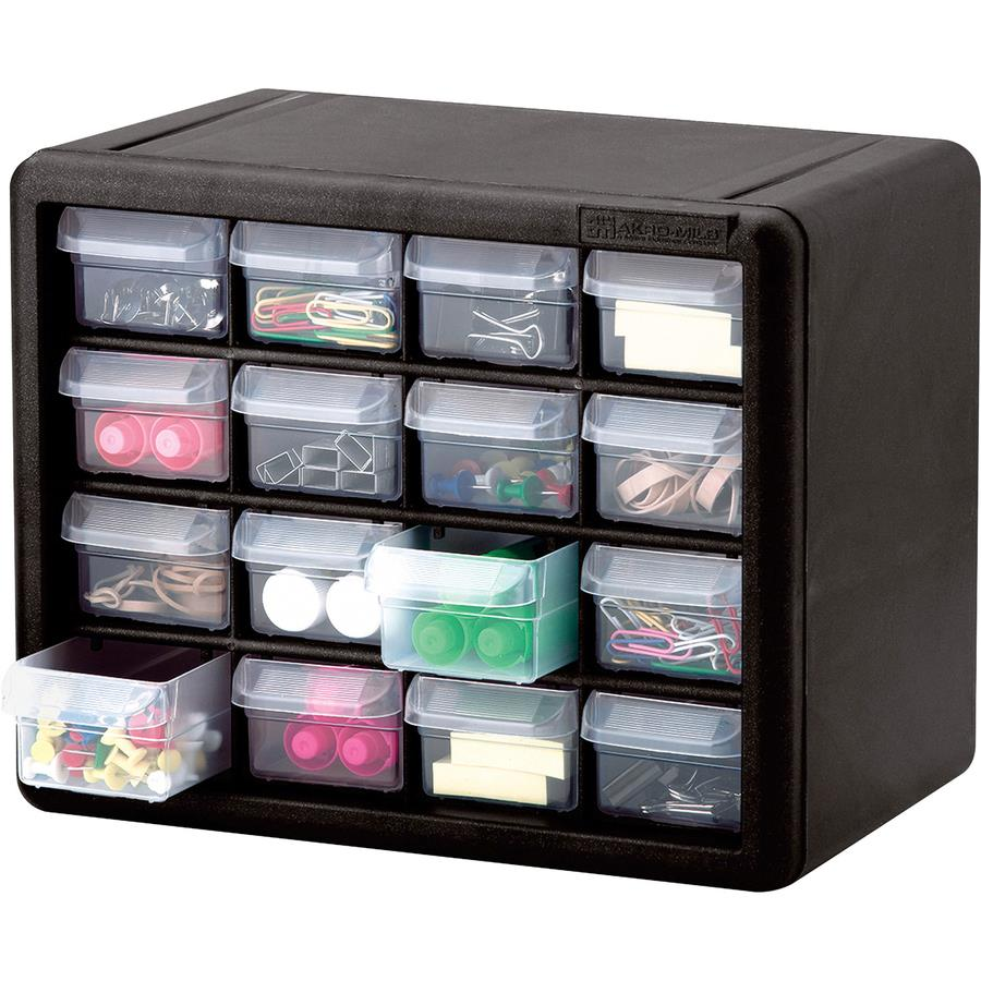 Akro-Mils 16-Drawer Plastic Storage Cabinet 16 Drawer(s) - 8.5  Height x 6.4  Width - Floor Wall Mountable - Black Clear - Polymer Plastic - 1Each  sc 1 st  Bulk Office Supply & Akro-Mils 16-Drawer Plastic Storage Cabinet