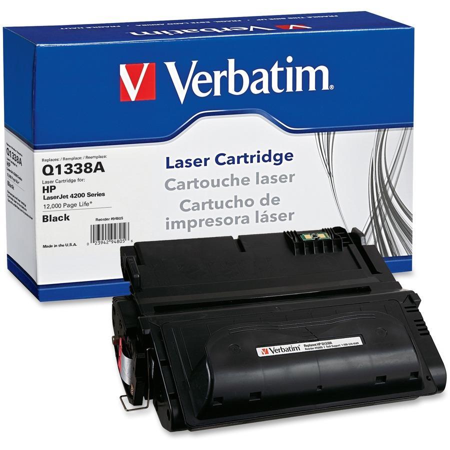 verbatim remanufactured laser toner cartridge alternative for hp q1338a. Black Bedroom Furniture Sets. Home Design Ideas