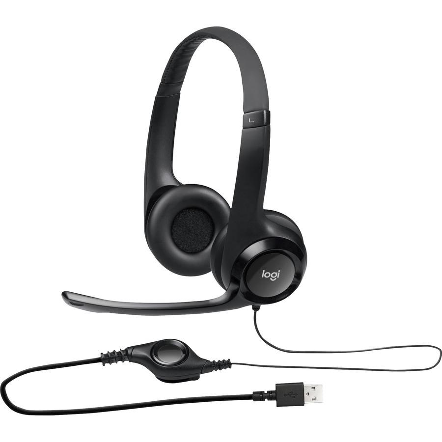 afc839fa12a Logitech Padded H390 USB Headset - Stereo - Black, Silver - USB - Wired -  20 Hz - 20 kHz - Over-the-head - Binaural - Circumaural - 8 ft Cable -  Noise ...