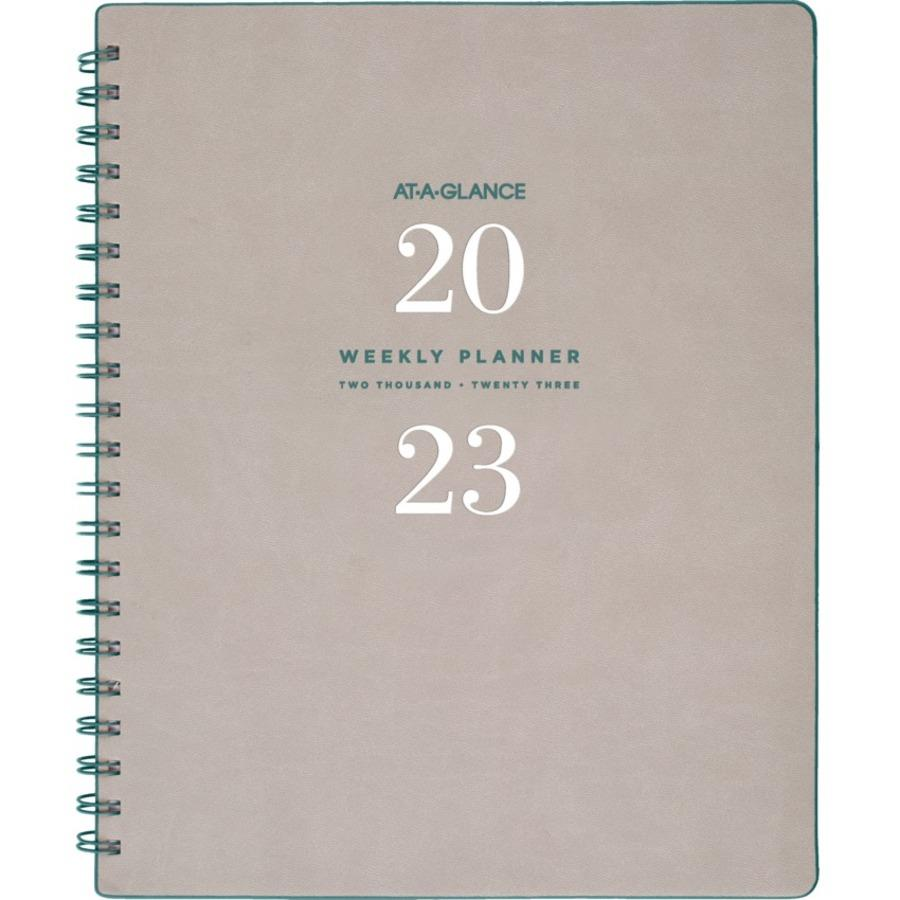 picture regarding Week at a Glance Planner called At-A-Appear Signature Range Weekly/Month to month Planner, Grey