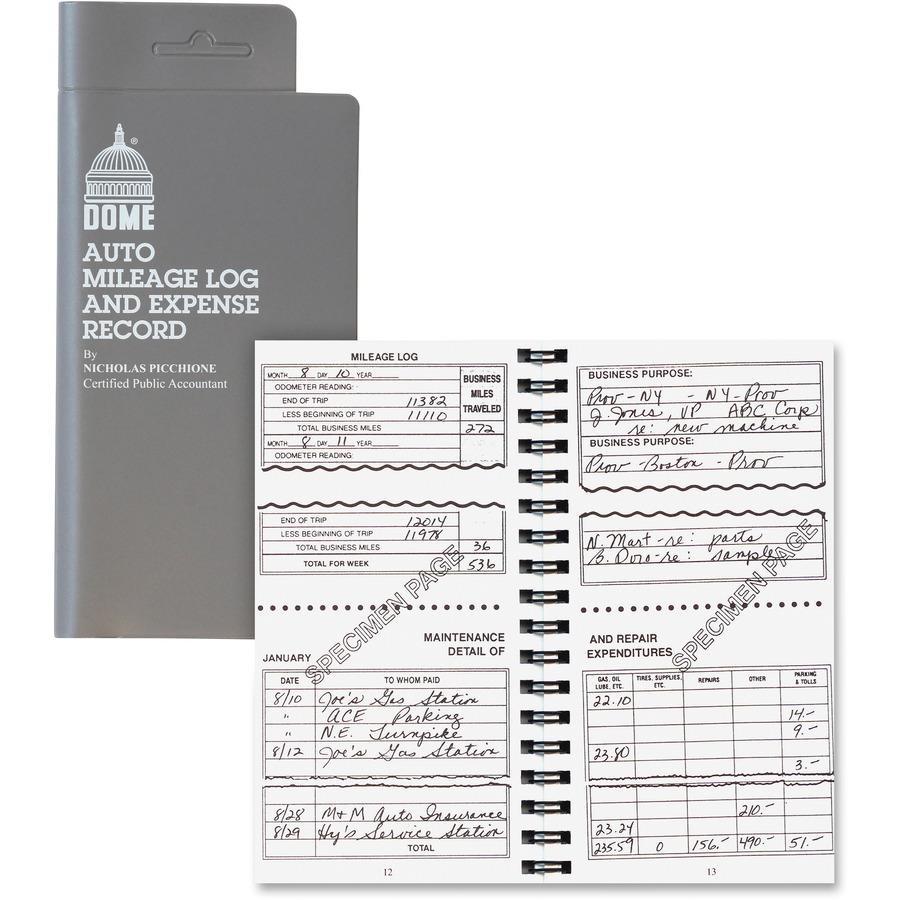 Dome Auto Mileage & Expense Record Book