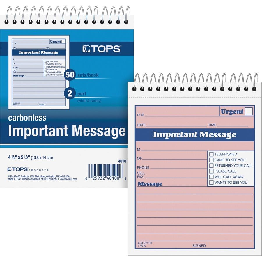 TOPS 1CPP Duplicate Important Message Book TOP4010