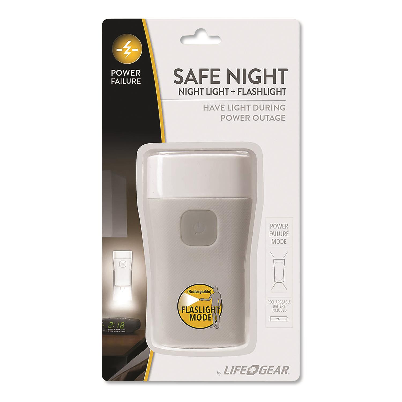 Safe Night Nightlight + Flashlight, Rechargeable Lithium-Ion Battery, Gray