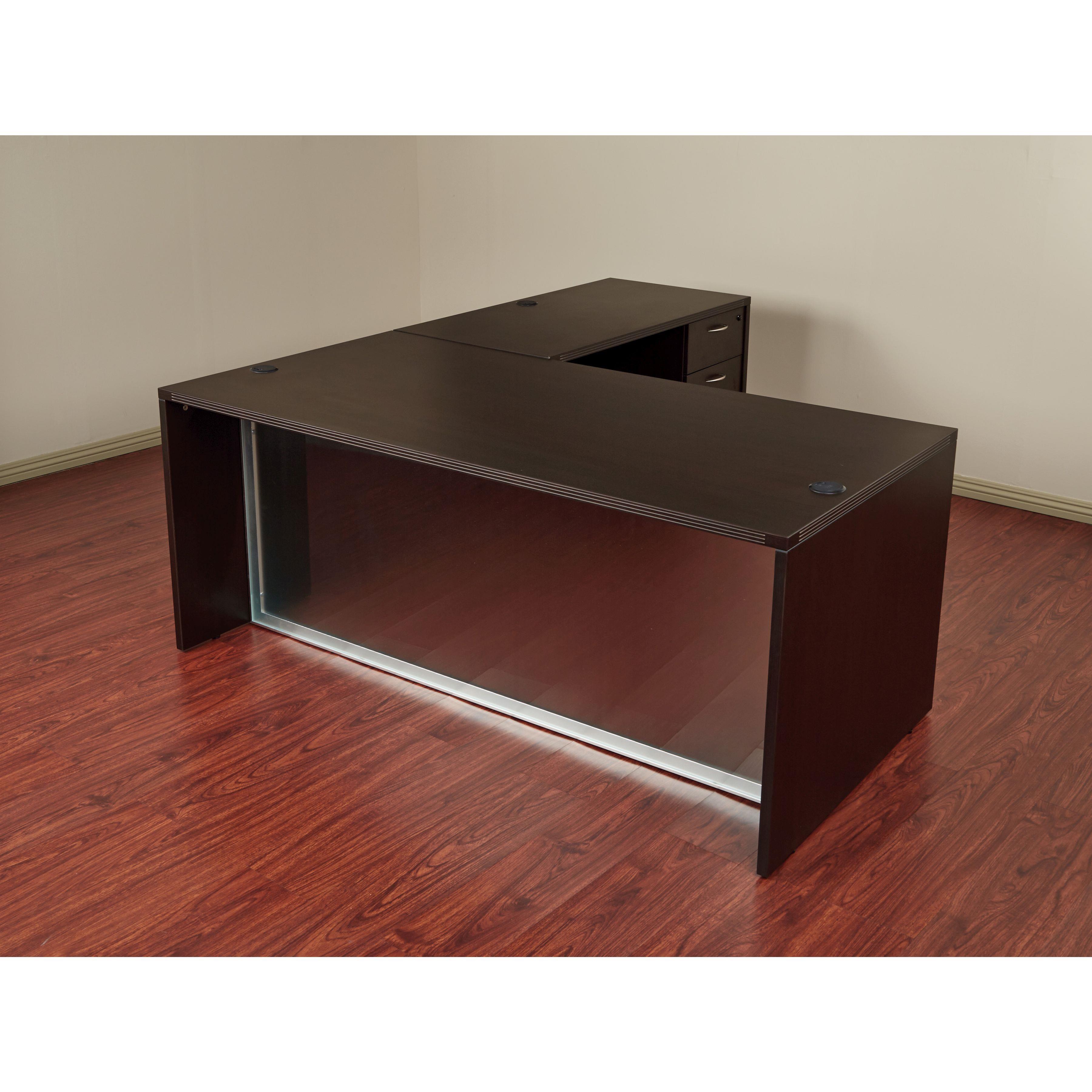 Osp Napa L Shaped Desk With Glass Modesty Panel