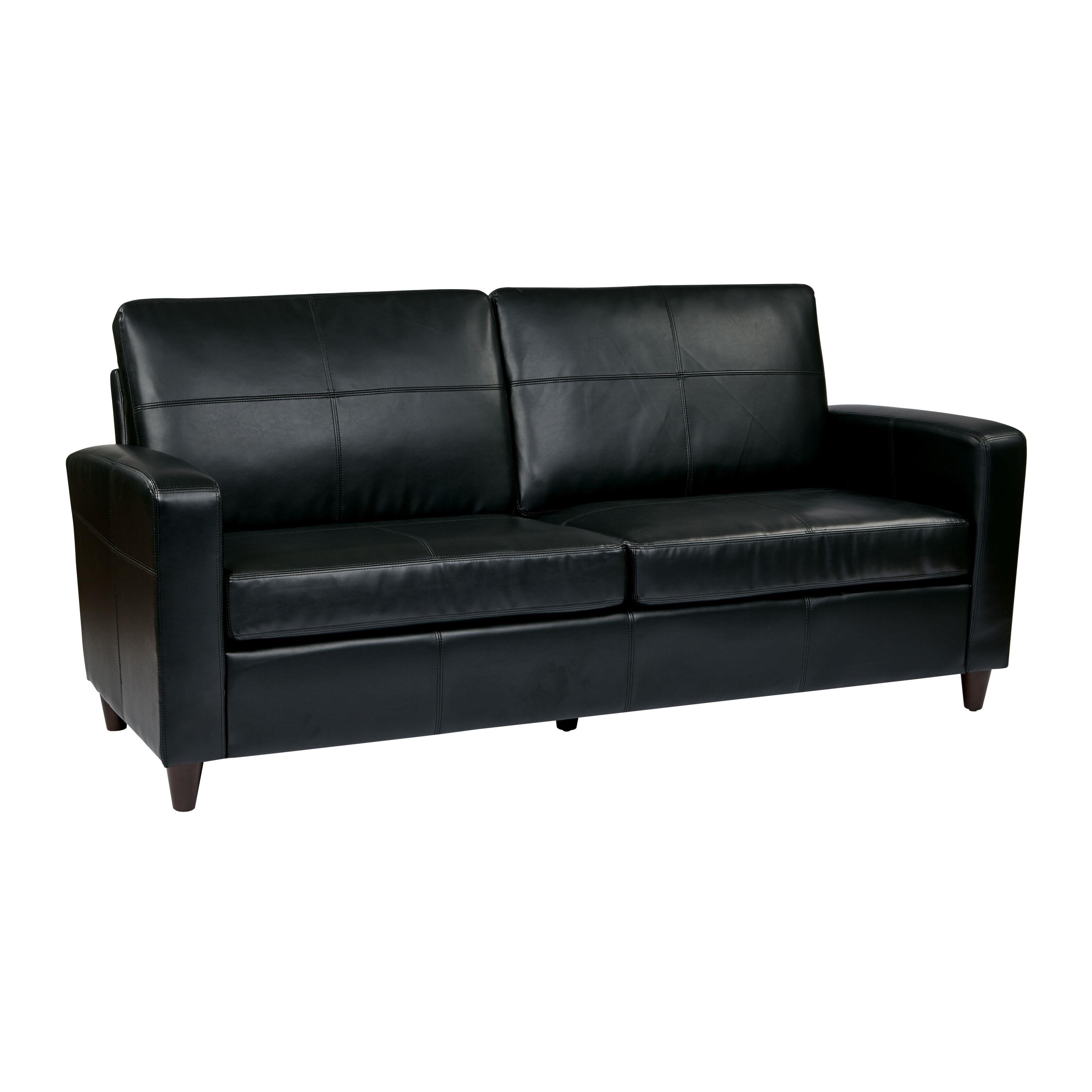 Osp espresso or black eco leather sofa with espresso finish ospsl2813