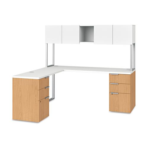 HON VOI SERIES L Workstation W/ 2 Pedestal Supports U0026 Overhead Cabinet    Silver Mesh Top/ Harvest Base