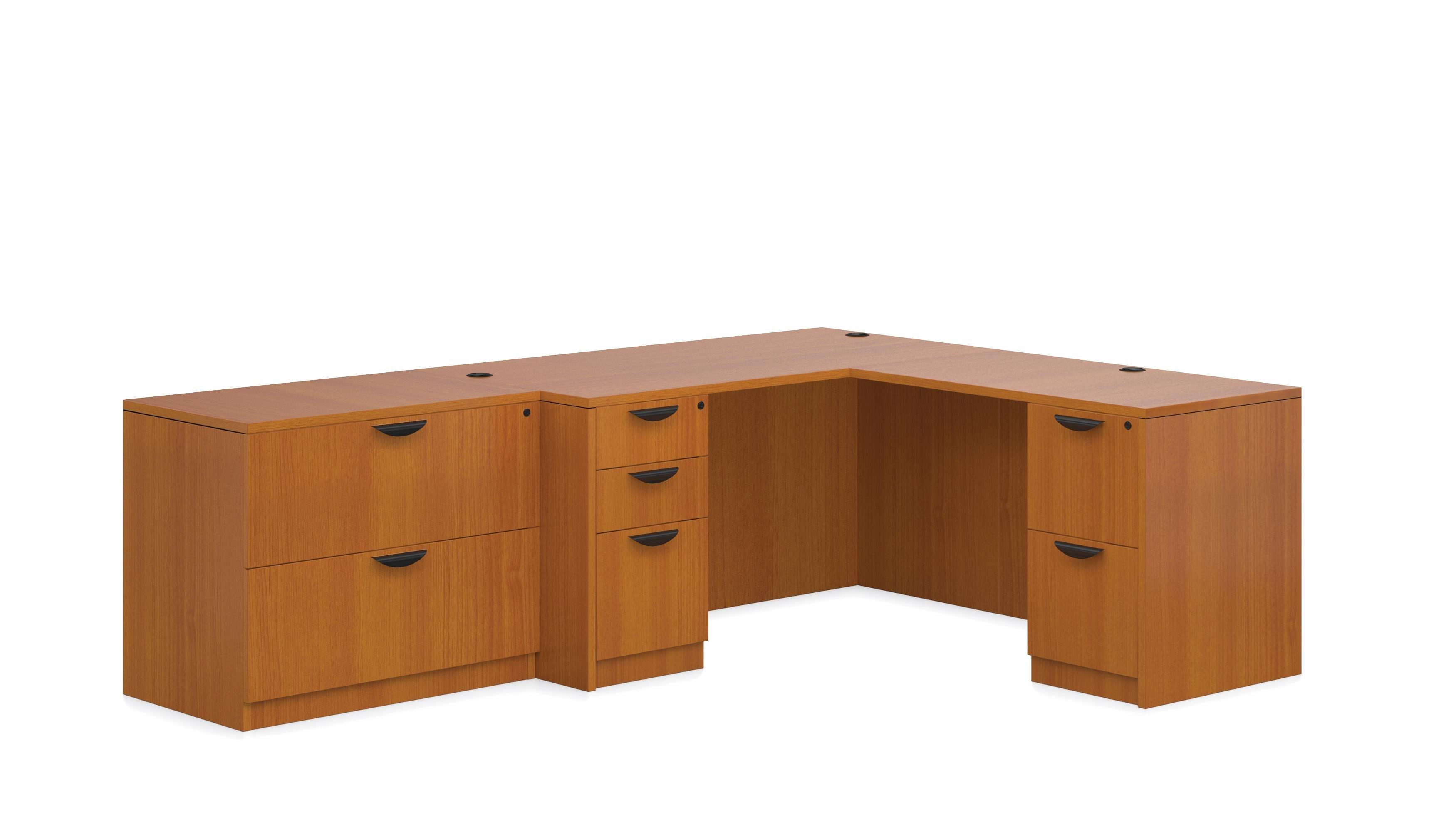 L Shaped Desk W/ 1 Box/Box/File Pedestal And 1 File/File Pedestal, U0026 A  Freestanding 2 Drawer Lateral File, American Cherry Finish