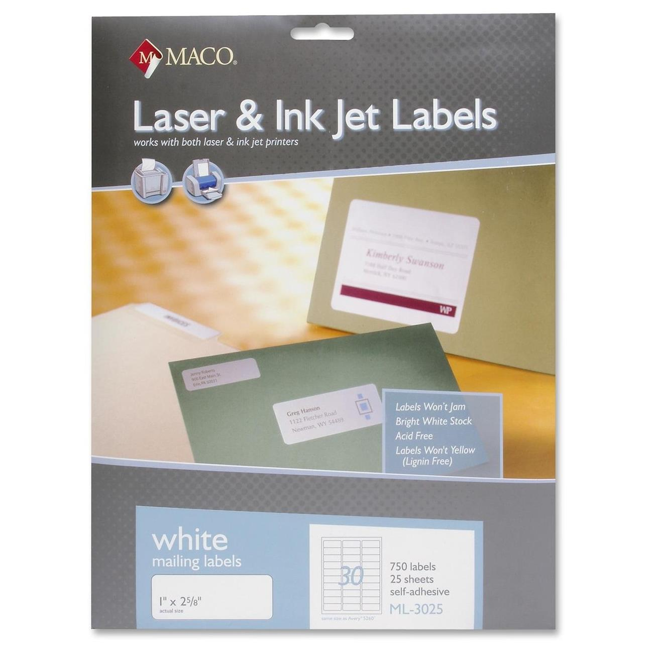 ML-3025 750 Per Pack 30 Per Sheet 1 x 2-5//8 Inches MACO Laser//Ink Jet White Address Labels