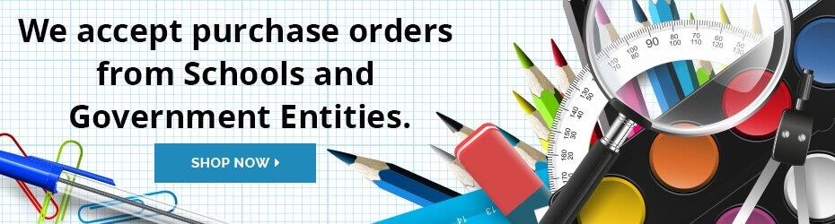 We accept purchase orders from schools and government entities.