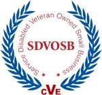 SDVOSB Logo - Certified by the Center for Veterans Enterprise as a Service Disabled Veteran Owned Small Business.