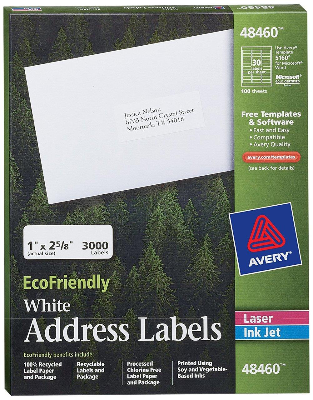 "Bulk 1""x2-5/8"" White Address Labels for Printers, 100 Sheets: Avery 48460 (6 Packs of Mailing Labels)"
