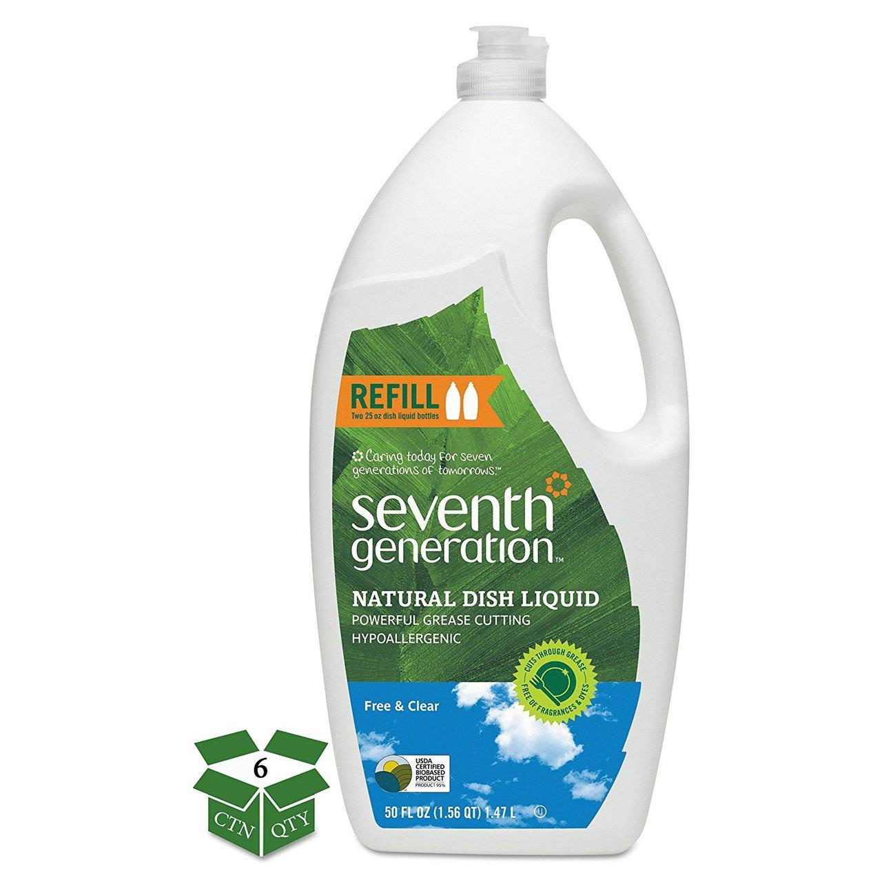 Bulk Natural Dishwashing Liquid, Free & Clear, Jumbo 50 oz Bottles: 7th Generation 22724 (6 Dishwashing Liquid Bottles)