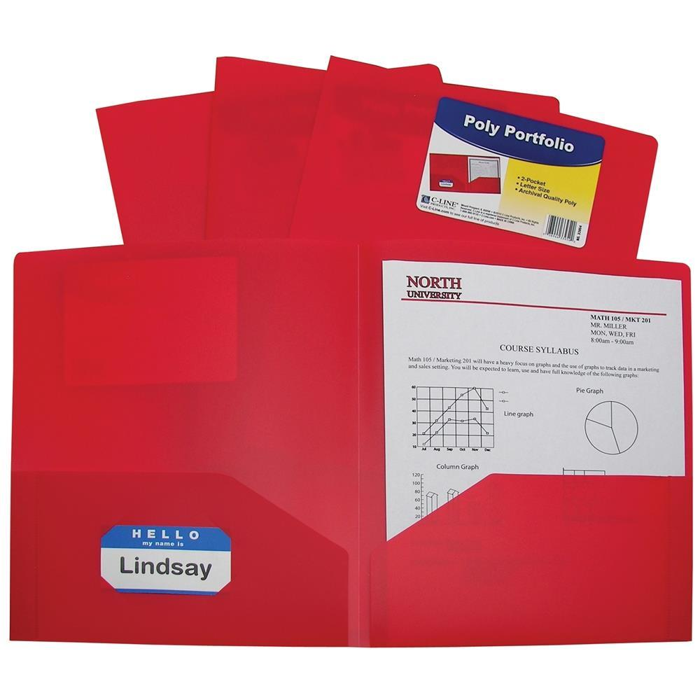 Two-Pocket Heavyweight Poly Portfolio Folder, Red (Set Of