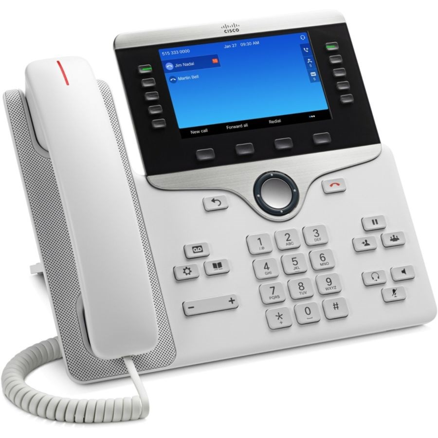 Cisco 8841 IP Phone - Wall Mountable - White - VoIP - Caller ID -  SpeakerphoneUnified Communications Manager, Unified Communications Manager  Express,